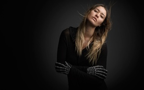Picture girl, costume, skeleton, Halloween, gloves, Studio