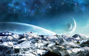 Wallpaper space, landscape, planets