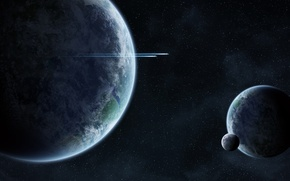 Wallpaper space, spaceship, planets, intelligent life
