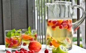 Picture glasses, drink, pitcher, fruit, mint