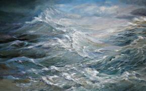 Picture sea, foam, landscape, Wave, painting