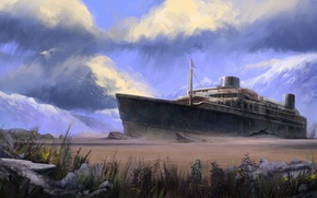 Picture clouds, ship, the skeleton, art, stranded, crack