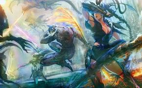 Picture weapons, girls, fire, magic, dragon, art, battle, guy