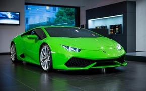 Wallpaper green, Lamborghini, room, Huracan