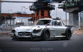 Picture concept, design, tuning, digital art, artwork, Mercedes-Benz 300SL, Khyzyl Saleem