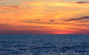 Picture sea, sunset, horizon, orange sky