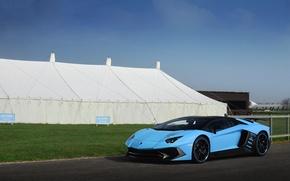 Picture lamborghini, blue, aventador, lp 750-4, supervelo