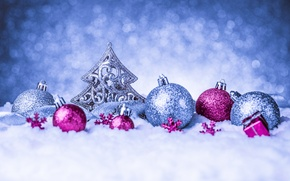 Picture New Year, snow, Merry, decoration, Christmas, balls, Christmas, balls, decoration