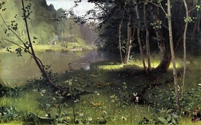Picture grass, water, trees, butterfly, people, shore, picture, boats, painting, Dubovskoy, forest river