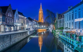 Picture night, lights, tower, home, Church, channel, Belgium, Bruges