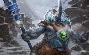 Picture art, beast, spear, horn, Dota 2, Magnus, snow storm