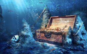 Wallpaper fish, stones, skull, depth, sword, coins, chest, treasures