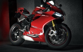 Picture red, lights, motorcycle, red, ducati, Ducati, 1199