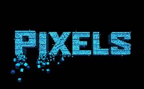 Picture the inscription, black background, Pixels, Pixels