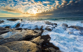 Picture wave, the sky, the sun, clouds, stones, Water, horizon