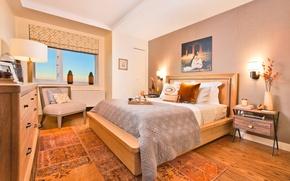Picture bed, chair, bedroom, bedroom, stand., interor
