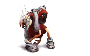 Picture anger, blood, wolf, minimalism, little red riding hood, rage, white background