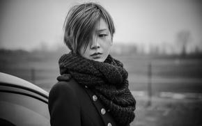 Wallpaper haircut, portrait, bokeh, lost in sadness