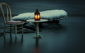 Picture snow, night, river, chair, lantern