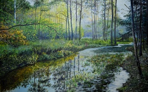 Picture forest, water, trees, landscape, reflection, river, stream, painting, Lutsenko, forest river