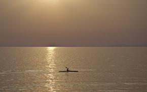 Wallpaper lake, boat, night