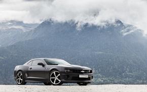 Picture reflection, drives, camaro ss, wheelsшевроле, black, black, chevrolet, Camaro