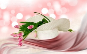 Picture style, texture, hat, tulips