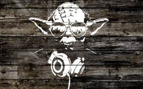 Picture style, tree, Board, headphones, silhouette, glasses, star wars, star wars, yoda, iodine