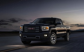 Picture The sky, The evening, Black, Machine, Logo, Pickup, GMC, The front, sierra