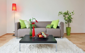Picture vase, sofa, flowers, table, lamp, dish, living room, fruit