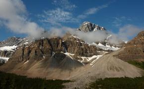 Picture forest, clouds, landscape, mountains, nature, rock, Park, Canada, Banff