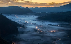 Picture mountains, lights, fog, valley, Bali, Indonesia