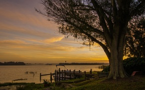 Picture boat, shore, Agnes Lake, tree, lake, the evening, shop, pier, Canada, sunset