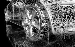 Wallpaper mesh, reflection, black background, wheel