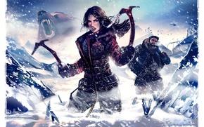 Picture winter, girl, snow, bear, art, TOMB RAIDER, lara croft