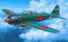 Picture the sky, war, fighter, art, Mitsubishi, Japanese, deck, WW2, Zero, Travel, A6M5