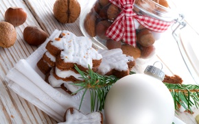 Picture winter, white, food, ball, cookies, nuts, stars, dessert, cakes, holidays, forest, Christmas