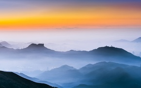 Picture mountains, fog, Hong Kong, glow