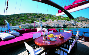 Picture design, style, table, sofa, interior, yacht, deck, Suite, luxury yacht