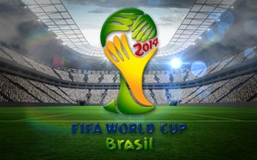 Picture stadium, football, flag, World Cup, Brasil, FIFA, 2014