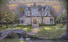 Picture flowers, bridge, nature, Robert Finale, swans, art, mansion, people, painting, garden, house, pond