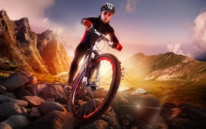 Picture mountains, stones, sport, cyclist