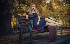 Picture the city, retro, Park, dress, suitcase, bench, Vintage