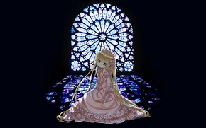 Picture stained glass, long hair, green eyes, pink dress, gosick, victorica de blois