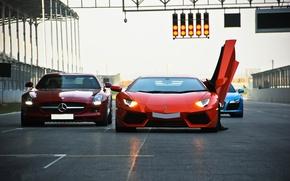 Picture orange, red, blue, Audi, audi, traffic light, red, lamborghini, mercedes-benz, blue, orange, sls amg, headlights, …