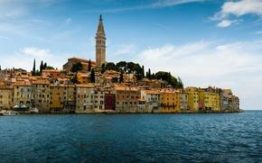 Picture sea, building, Croatia, Istria, Croatia, The Adriatic sea, Rovinj, Rovinj, Adriatic Sea, Istria, Church of ...