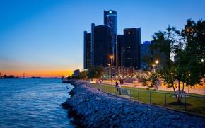 Wallpaper city, the city, USA, Detroit, Michigan