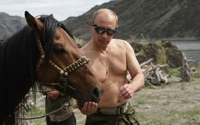 Picture mountains, nature, Wallpaper, horse, Putin, Vladimir Putin, Prime Minister of Russia, the President of Russia
