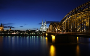 Picture bridge, reflection, river, building, the evening, Germany, backlight, architecture, Germany, Cologne, Cologne, Rhine, Koln