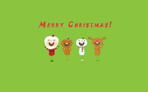 Wallpaper holiday, green, fun, deer, Christmas, snowman, new year, Santa Claus, green background, background, merry christmas, ...